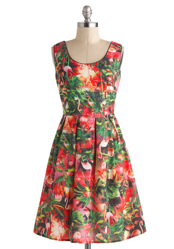 Tour Glide Dress in Flamingo - Multi, Print with Animals, Casual, A-line, Sleeveless, Summer, Mid-length, Red, Pleats, Scoop, Beach/Resort