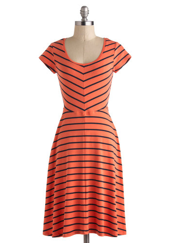 Fresh as Papaya Dress - Cotton, Long, Coral, Blue, Stripes, Casual, A-line, Short Sleeves, Scoop, Beach/Resort, Travel