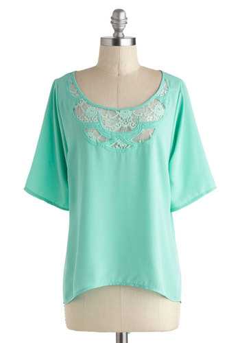 Great Mints Think Alike Top - Sheer, Mid-length, Mint, Solid, Lace, Short Sleeves, Pastel, High-Low Hem