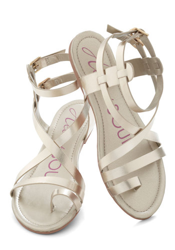 Fashionable Forum Sandal in Gold - Gold, Solid, Flat, Casual, Daytime Party, Beach/Resort, Summer, Faux Leather, Strappy