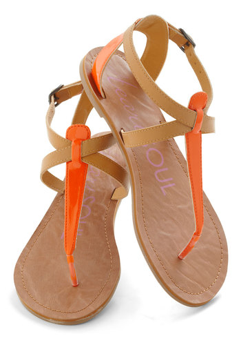 Raise the Sandbar Sandal in Citrus - Solid, Flat, Orange, Tan / Cream, Casual, Beach/Resort, Boho, Summer