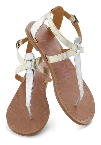 Raise the Sandbar Sandal in Metallic - Solid, Flat, Silver, Gold, Casual, Daytime Party, Beach/Resort, Summer