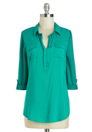 School's Haute Top - Beach/Resort, Green, Work, Casual, Menswear Inspired, Travel, Mid-length, Green, Tab Sleeve, Top Rated