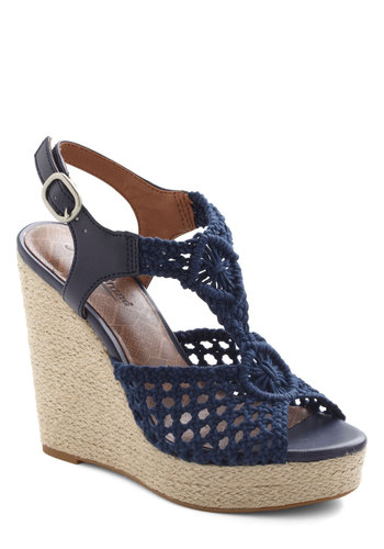 Woven Commotion Wedge by Lucky - Blue, Solid, Crochet, Cutout, Wedge, Peep Toe, High, Braided, Daytime Party, Beach/Resort, Boho, Summer, Better, T-Strap