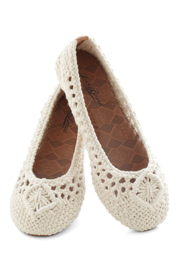 If I Macrame Flat by Lucky - Cream, Solid, Woven, Flat, Crochet, Casual, Nautical, Boho, Travel