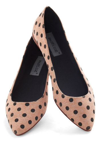 A Dot a Day Flat - Flat, Leather, Tan, Black, Polka Dots, Work, Casual