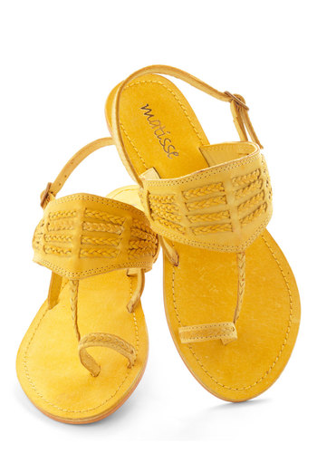 Walking on Fun-shine Sandal - Flat, Leather, Yellow, Solid, Braided, Slingback, Casual, Beach/Resort, Boho, 70s, Summer