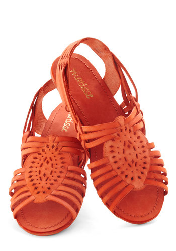 Bird's Island View Sandal - Flat, Leather, Orange, Solid, Cutout, Slingback, Woven, Casual, Beach/Resort, Boho, Vintage Inspired, 70s, Summer, Faux Leather