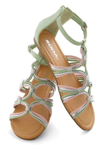 Pisa Cake! Sandal - Green, Pink, Pastel, Flat, Silver, Casual, Daytime Party, Beach/Resort, Spring, Summer