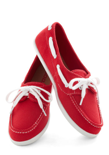 Marina Meet-Up Flat - Red, White, Casual, Menswear Inspired, Flat, Lace Up, Solid, Trim, Nautical, Travel