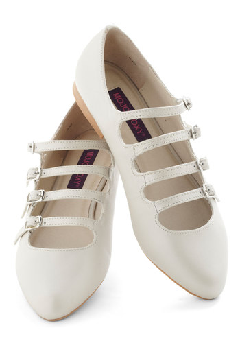Homemade Ice Cream Flat in Vanilla - Cream, Solid, Buckles, Cutout, Mary Jane, Flat, Leather, Pastel, Spring, Daytime Party