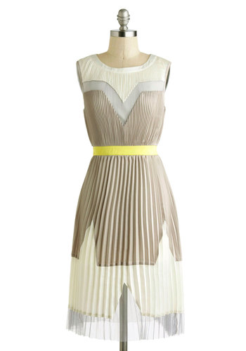 Maximum Opacity Dress - Party, A-line, Sleeveless, Spring, Sheer, Satin, Long, Tan, Yellow, White, Silver, Pleats, Crew, Wedding, Cocktail, Bridesmaid