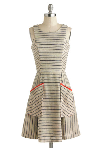 Penmanship Shape Dress - Mid-length, Tan, Orange, Blue, Stripes, Cutout, Pockets, Casual, A-line, Sleeveless, Scoop, Scholastic/Collegiate
