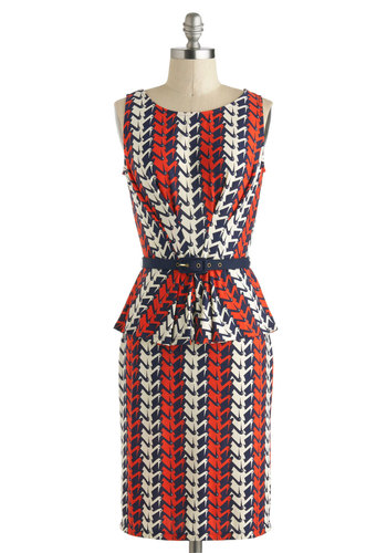 The Pelican Sheath Dress - Mid-length, Red, Blue, White, Print with Animals, Belted, Shift, Peplum, Sleeveless, Boat, Work