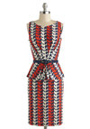 The Pelican Sheath Dress - Mid-length, Red, Blue, White, Print with Animals, Belted, Sheath / Shift, Peplum, Sleeveless, Boat, Work
