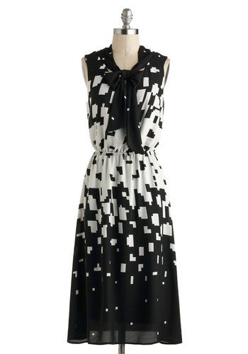Matrix Code of Conduct Dress - Black, White, Print, Tie Neck, Work, A-line, Sleeveless, Vintage Inspired, Long