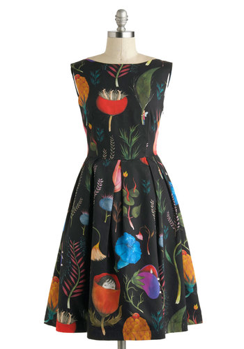 Let's Be Surrealistic Dress - International Designer, Folk Art, Mid-length, Black, Multi, Novelty Print, Pleats, Party, A-line, Sleeveless, Boat, Quirky, Cotton, Prom, Statement