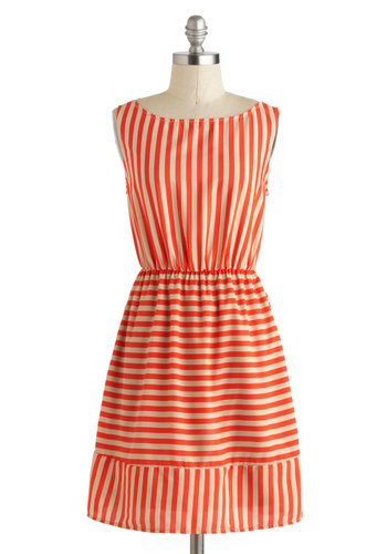 Fine and Candy Dress - Short, Red, Tan / Cream, Stripes, Cutout, Casual, A-line, Sleeveless, Boat, Beach/Resort