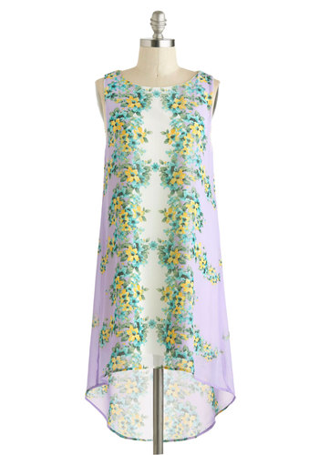 Reflect on Your Actions Dress - Short, Purple, Multi, Floral, Casual, Tent / Trapeze, High-Low Hem, Sleeveless, Scoop, Beach/Resort, Summer