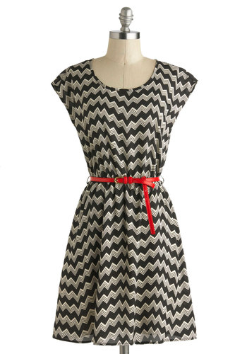 Chevron Cloud Nine Dress - Mid-length, Black, Grey, Chevron, Belted, Casual, A-line, Short Sleeves, Scoop