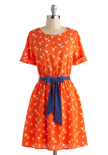 Everywhere You Tune Dress - Print with Animals, Short, White, Belted, Casual, A-line, Short Sleeves, Scoop, Orange