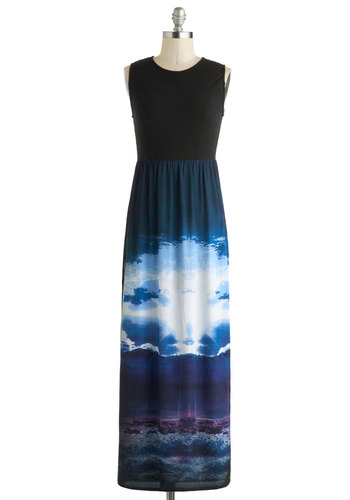 Panoramic Outlook Dress by Motel - International Designer, Multi, Blue, Purple, Black, White, Casual, Maxi, Sleeveless, Crew, Long, Party, Girls Night Out, Statement, Urban