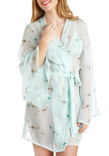 Water Ballet Robe - Blue, Multi, Print with Animals, International Designer, Sheer, Pastel, Long Sleeve, Short