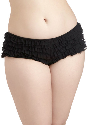Can Can and Will Undies in Plus Size - Black, Solid, Bows, Ruffles