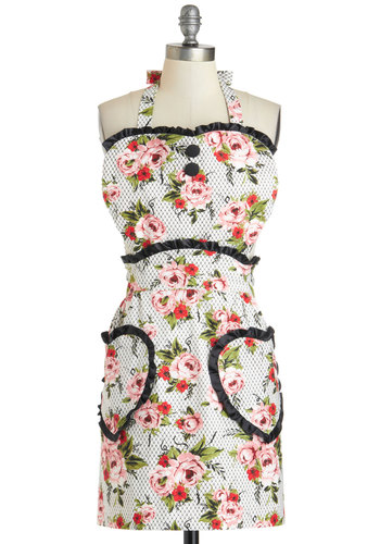 Party Under the Pergola Apron - Cotton, Multi, Floral, Pockets, Vintage Inspired, 50s