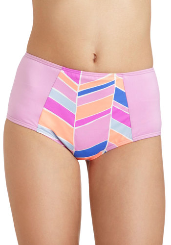 Get Your Flutter Kicks Swimsuit Bottom in Pattern by Zinke - Purple, Multi, Print, Beach/Resort, Summer