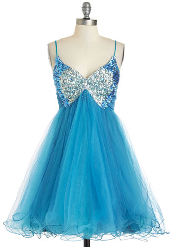 Twinkling Transformation Dress - Prom, Statement, Fairytale, Chiffon, Blue, Silver, Rhinestones, Sequins, Party, Ballerina / Tutu, Spaghetti Straps, V Neck, Mid-length, Beads