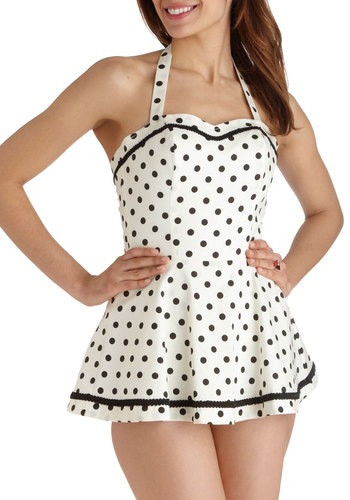 Sun Speckled Afternoon Playsuit - White, Black, Polka Dots, Trim, Beach/Resort, Pinup, Vintage Inspired, 50s, Cotton, Film Noir, Rockabilly, 40s, Halter, Summer