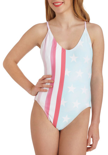 Sand That I Love One Piece by Wildfox - Novelty Print, Summer, Red, Blue, White, Beach/Resort, Racerback