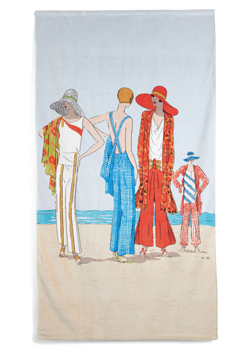 Sand My Regards Beach Towel in 1929 - Cotton, Multi, Vintage Inspired, Beach/Resort, 20s, Summer, Travel