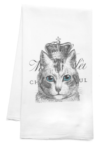 Long Live the Cat Tea Towel - Cotton, White, Print with Animals
