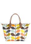 Orla Kiely Sprout on the Town Bag by Orla Kiely - Multi, Print, International Designer, Vintage Inspired, 60s, Mod, Luxe, Novelty Print, Leather, Summer, Travel