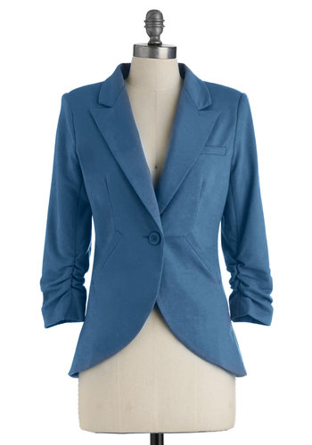 Fine and Sandy Blazer in Ocean - Blue, Solid, Buttons, Pockets, Menswear Inspired, 3/4 Sleeve, Cotton, Mid-length, 2, Work, Casual, Tis the Season Sale, Variation