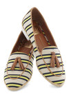 Up and Atom Flat by Dolce Vita - Flat, Stripes, Tassles, Menswear Inspired, Yellow, Blue, Tan / Cream, Nautical, Spring