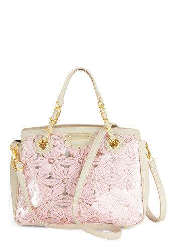 Betsey Johnson Having a Field Daisy Handbag by Betsey Johnson - Floral, Chain, Pink, Tan / Cream, Pastel, Spring, Summer