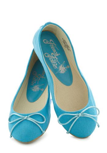 Bright Around the Corner Flat in Electric Blue - Blue, Solid, Bows, Flat, Casual