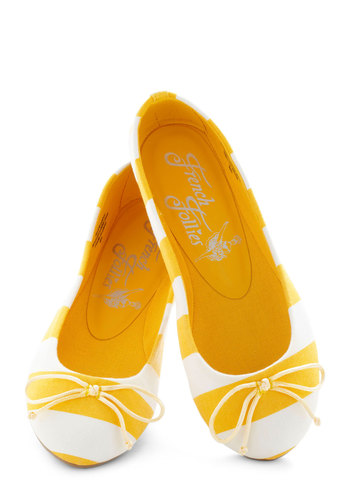 Bright Around the Corner Flat in Yellow Stripes - Yellow, White, Stripes, Bows, Flat, Nautical, Casual