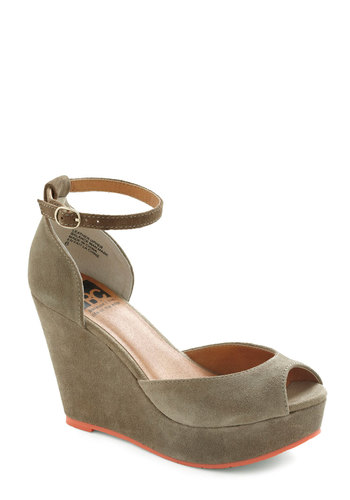 Any Day of the Peek Wedge by BC Footwear - Grey, Orange, High, Wedge, Peep Toe, Platform, Suede, Colorblocking