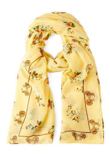 Countryside Bike Ride Scarf by Yumi - Multi, Floral, Print, Yellow, Novelty Print