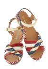 Huge Hugs Sandal in Americana by Chelsea Crew - Multi, Solid, Polka Dots, Stripes, Braided, Espadrille, Wedge, Low, Casual, Beach/Resort, Summer