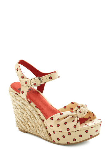 Parlor by the Pier Wedge by BC Footwear - Cream, Red, Polka Dots, Bows, Wedge, High, Braided, Daytime Party, Beach/Resort, Spring, Summer
