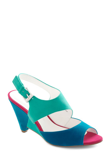 Artist's Inspiration Heel - Multi, Solid, Colorblocking, Mid, Slingback, International Designer, Vintage Inspired, 80s