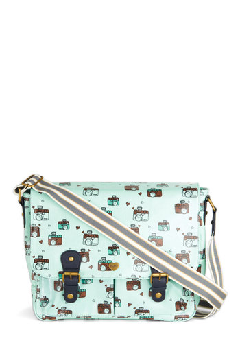 It's a Snapshot Satchel by Yumi - Blue, Multi, Print, Kawaii, Novelty Print, Buckles, Casual, Travel, Work