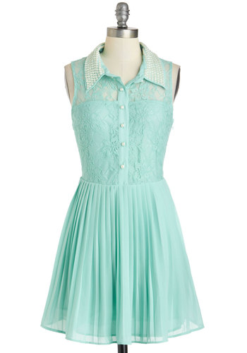 Go Get 'Em, Pearl Dress - Sheer, Short, Mint, Solid, Lace, Pearls, A-line, Sleeveless, Collared, Buttons, Pleats, Daytime Party, Pastel, Shirt Dress, Spring, Beads, Summer