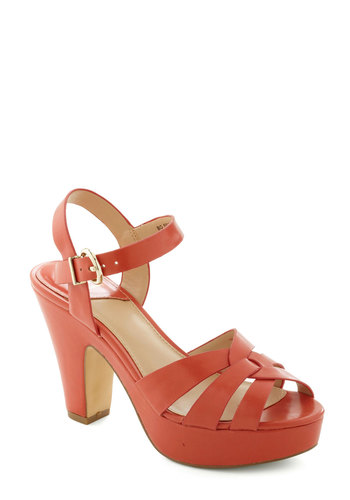 Young and Bold Heel in Coral - Coral, Solid, Cutout, Peep Toe, International Designer, High, Party, Daytime Party, Vintage Inspired, Faux Leather