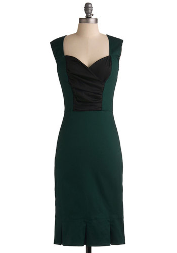 Toastess with the Mostess Dress in Olive - Green, Black, Sheath / Shift, Long, Cocktail, Sleeveless, Sweetheart, Ruching, Work, Film Noir, Vintage Inspired, 40s, Cotton